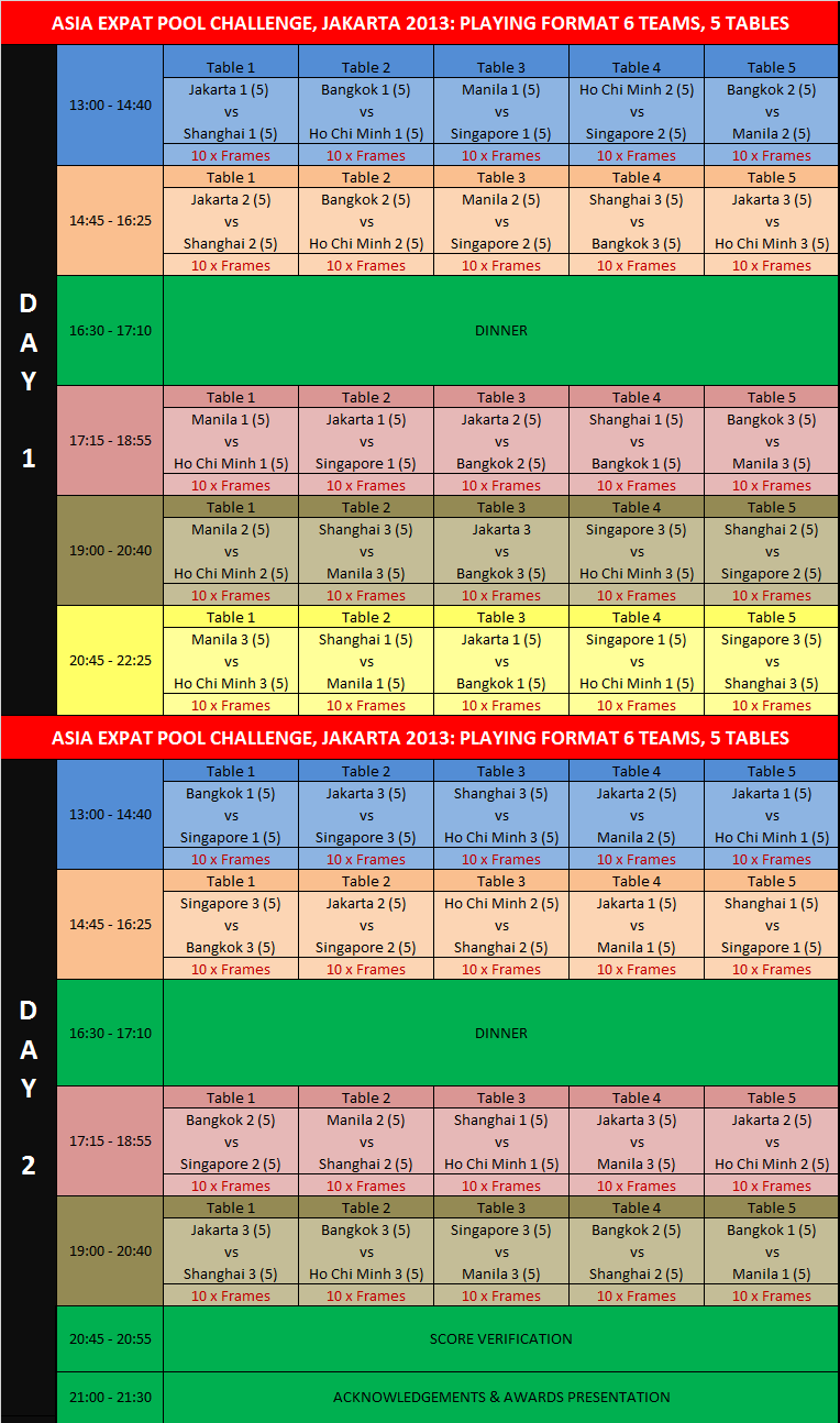 AEPC Playing Schedule